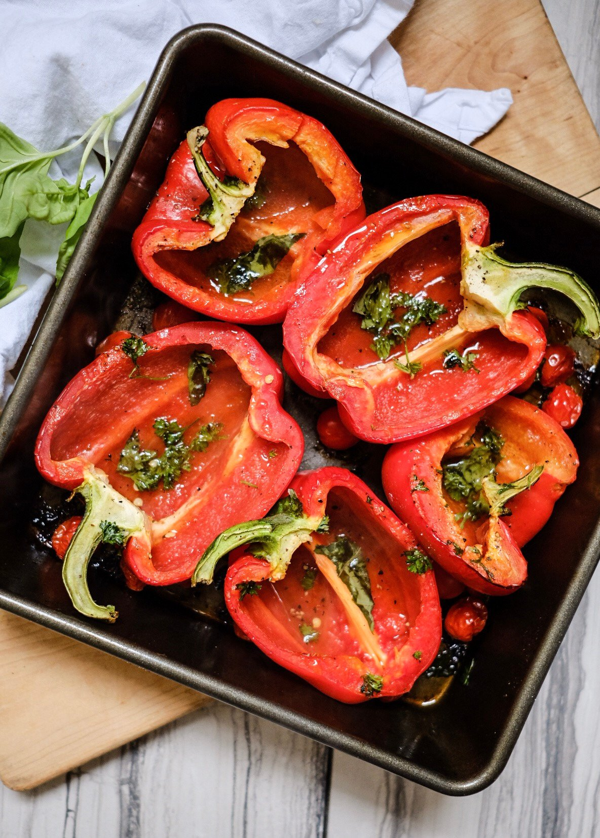 Lifestyle Blogger Jenny Meassick from Chocolate & Lace shares her recipe for Roasted Stuffed Peppers.