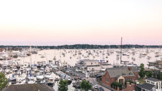 boats in the bay over a sunset in Newport, Rhode Island