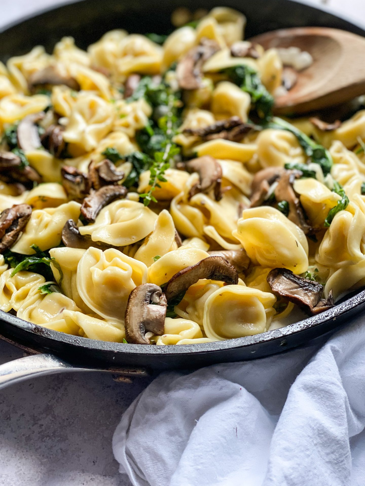 Chocolate and Lace Shares her recipe for Creamy Mushroom and Spinach Tortellini