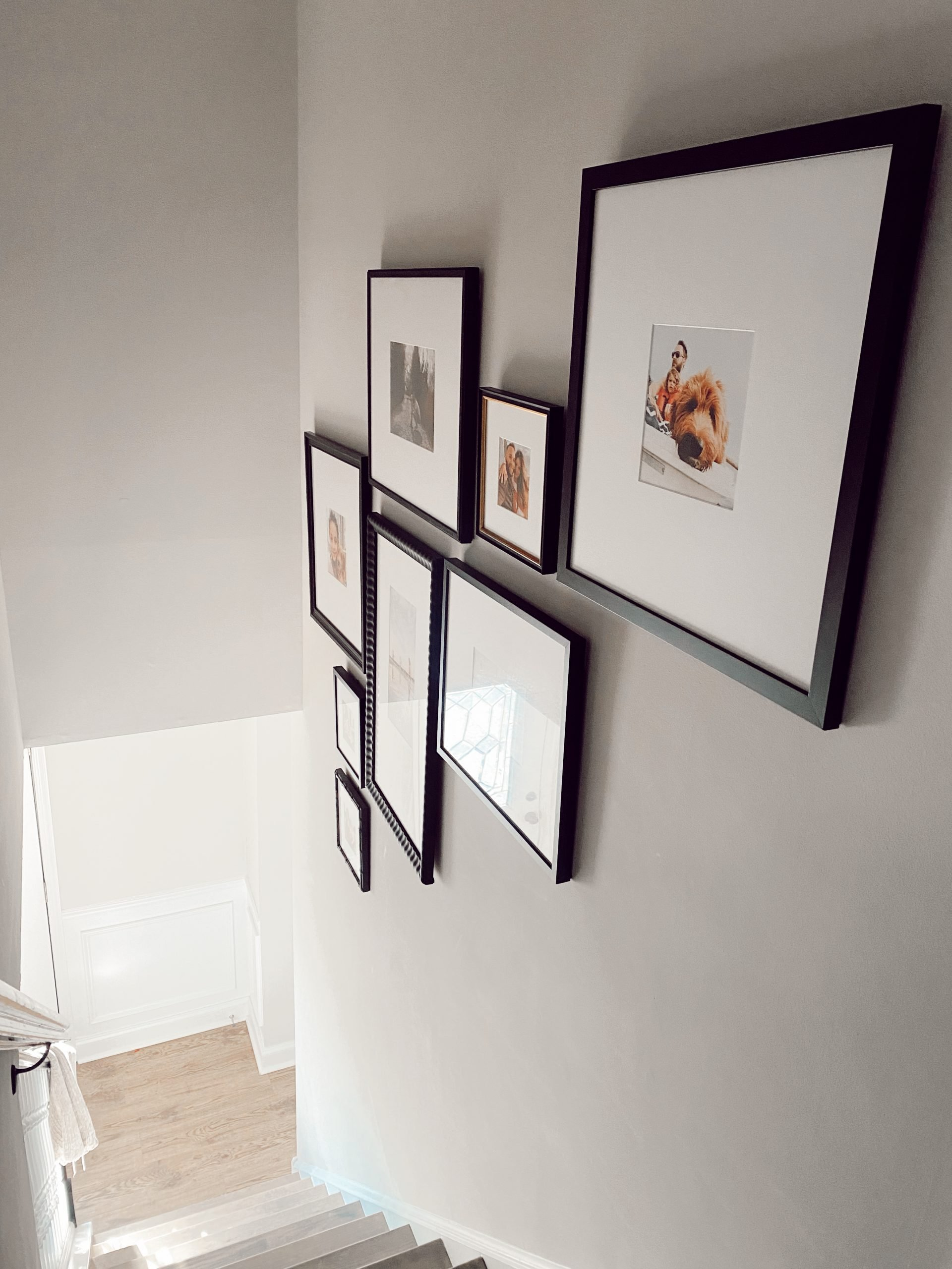 A gallery wall of photographs with black frames