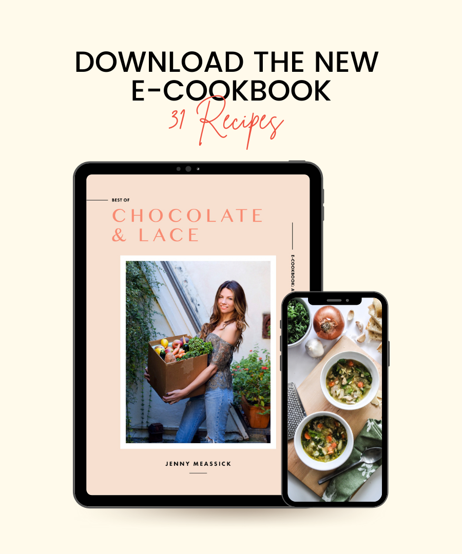 mockup graphic showing the cover of an e-cookbook with a woman holding a box of vegetables